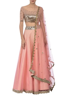 peach-silver-mirror-embroidered-lehenga-set