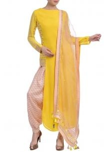 canary-yellow-peach-embellished-kurta-set