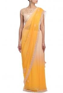 apricot-peach-pearl-embellished-sari
