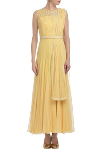canary-yellow-embellished-pleated-anarkali-set