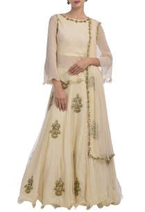 cream-motif-embroidered-net-lehenga-set