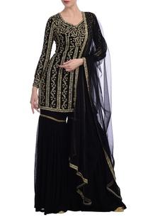 black-gold-floral-embroidered-sharara-set
