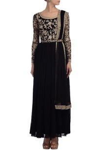 black-gold-floral-embroidered-anarkali-set