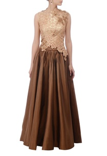 brown-gold-crop-top-skirt-set