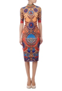 sunset-shaded-blue-ornate-motif-printed-dress