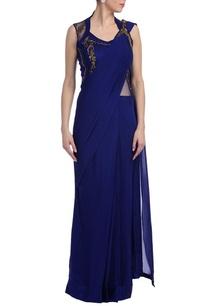 royal-blue-antique-gold-embellished-sari-gown