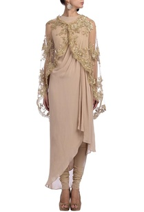 nude-embellished-asymmetrical-kurta-set-with-cape