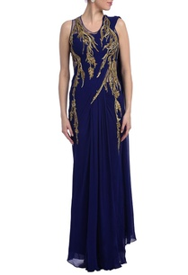 royal-blue-gold-embellished-sari-gown