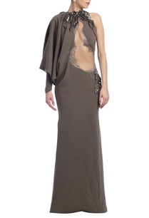 grey-embellished-draped-one-sleeved-gown