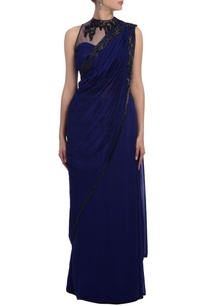 royal-blue-black-bead-embellished-sari