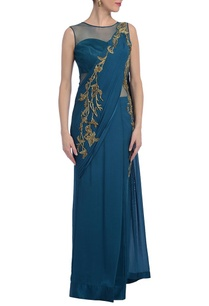teal-blue-gold-embellished-sari-gown