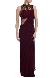 wine-gold-embellished-sari-gown