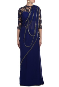 deep-blue-floral-lace-embellished-sari-gown