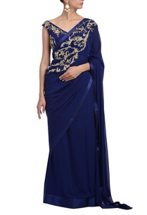 deep-blue-floral-embellished-sari
