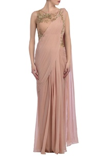 peachy-pink-gold-embellished-sari-gown