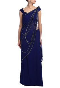 peacock-blue-embroidered-sari