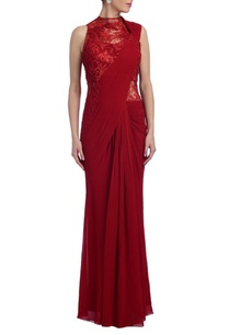 scarlet-red-embroidered-sari-gown
