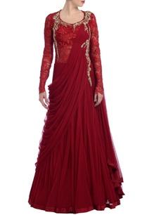 scarlet-embroidered-sari-lehenga
