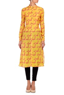 yellow-coral-animal-printed-tunic
