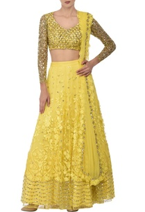sunshine-yellow-sequin-floral-embroidered-lehenga-set