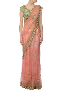 peachy-pink-mint-floral-embroidered-lehenga-sari