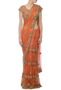 orange-tiered-embellished-lehenga-sari