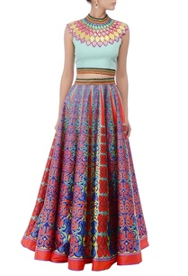 an-aqua-embroidered-crop-top-printed-skirt