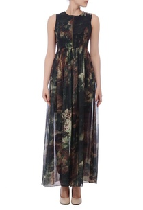 black-brown-green-floral-printed-zippered-tunic