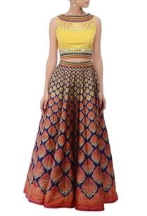 blue-yellow-printed-lehenga-set