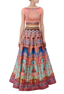 peachy-pink-multicolored-embroidered-lehenga-set