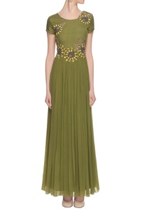 olive-green-embroidered-embellished-gown