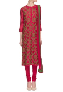 hot-pink-olive-green-printed-kurta-set