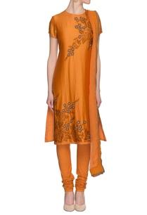 mustard-embroidered-silk-kurta-set