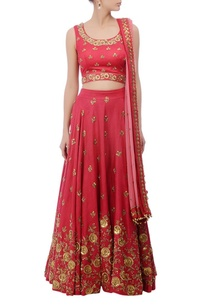 coral-red-gold-floral-zardozi-embroidered-lehenga-set