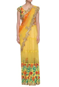 bright-yellow-floral-embroidered-lehenga-sari-set
