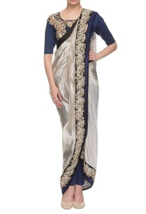grey-royal-blue-embroidered-dhoti-sari