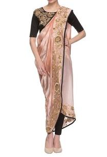 light-pink-black-embroidered-dhoti-sari