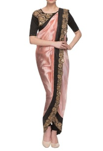 pink-black-rose-embroidered-dhoti-sari