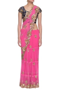 rani-pink-navy-blue-floral-embroidered-lehenga-sari-set