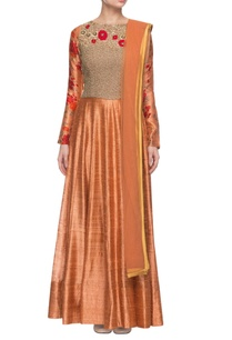 orange-floral-printed-embroidered-anarkali-set