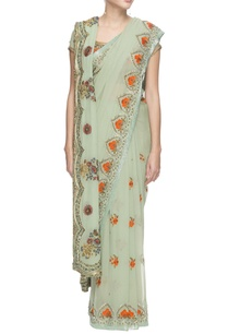 haze-green-chiffon-sari-with-sequin-and-thread-work-blouse