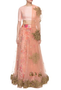 peach-floral-printed-embroidered-lehenga-set