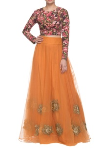 floral-printed-orange-embroidered-lehenga-set