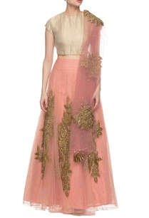 peachy-pink-golden-embroidered-lehenga-set