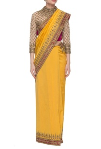 yellow-dark-pink-embroidered-sari