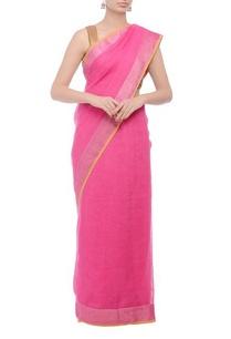pink-herringbone-handwoven-sari