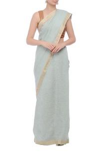sea-blue-silver-border-handwoven-sari