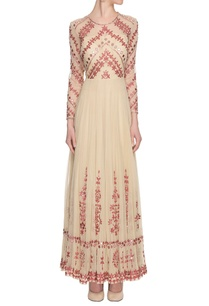 beige-red-mirror-embellished-dress