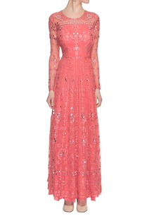 coral-pink-mirror-embellished-dress