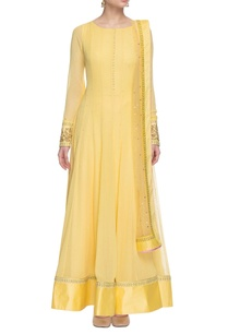 yellow-embroidered-anarkali-set